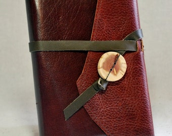 Small Refillable Sketchbook- Dark Red Leather with Leather Tie