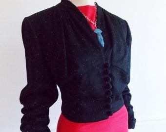 1940s 50s black wool short jacket / WWII swing era multicolor speckle jacket / rockabilly fixen pinup jacket