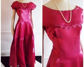 1950s pink satin evening gown / hollywood glamour starlett dress / 50s pink party Dress/ Harry Keiser