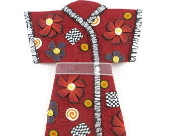 Red Glitter Kimono Polymer Clay Pin Handmade Brooch Art Jewelry Ribbon Sash Canework Traditional Japanese Clothing Geisha Fashion