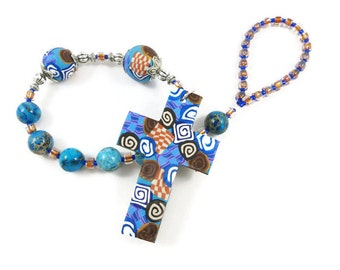 Blue Imperial Jasper Anglican Prayer Beads Chaplet Protestant Rosary Handmade Polymer Clay Graduation Confirmation Gift Under 30 Dollars