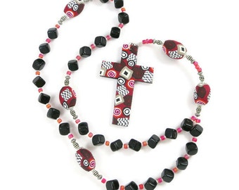 Black Glass Cube Anglican Rosary Episcopal Protestant Prayer Beads Handmade Polymer Clay Cross Focal Beads Religion Christian Gift