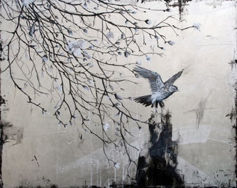 Silver Days - original acrylic painting and silver leaf