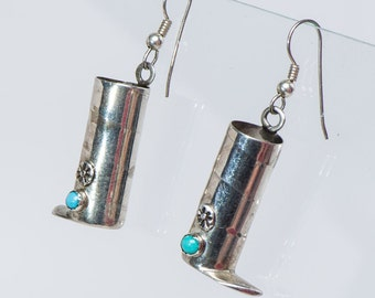 Navajo Sterling & Turquoise Novelty Earrings - Moccasins - Signed
