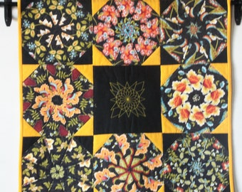 Kaleidoscope Quilted  Wallhanging/ Table Topper