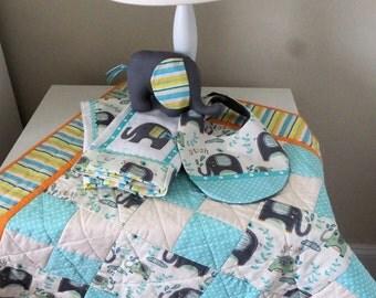 Baby Quilt Gift Set/ Baby Elephant Gift Set/Baby Quilt,Burp Cloths, Bib, Elephant Set/Baby Five Piece Gift Set/Baby Eephant Quilt Gift Set