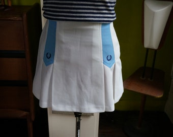 vintage Fred Perry tennis skirt sportswear blue white 60s 70s 1960 1970