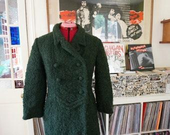vintage 50s woolen dark green coat 1950s