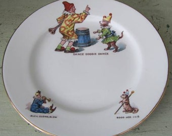 Welcome To The Circus - Vintage Childs Tea Plate - 1930's British -Clown & Dog