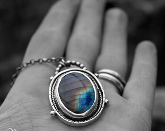 Sterling silver and Labradorite Rustic Bohemian Necklace - Somewhere -