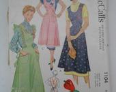Vintage 40s Full Bib Apron Pattern McCalls 1104 Size Small 14 16 Bust 32 34