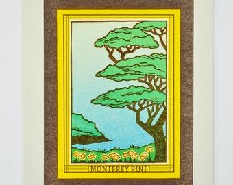 Monterey Pine : Limited Edition Letterpress Linocut Print