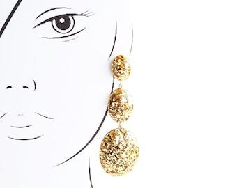 Handmade Gem Drop Earrings. Large long chandelier drop facet geometric statement dangle resin earrings in gold glitter.