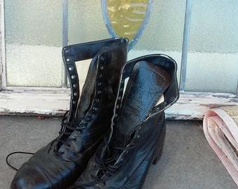 Antique Vintage Original Leather Granny Boots/ Black Size 6.5 / 7