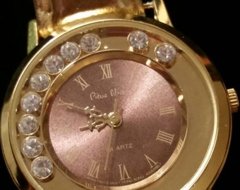 Vintage Gold Tone Fabulous Pierre Nicol Quartz Watch with Gold Leather Band, Floating Sparkly Crystals, & A New Battery