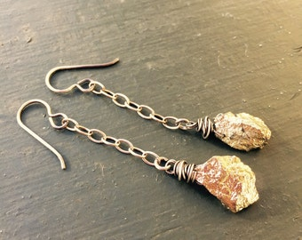 Rough Gold Plated Pyrite Nuggets on Sterling Silver Chain