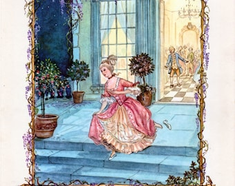 Set of 4 TASHA TUDOR Prints Cinderella Thumbelina Red Riding Hood Rapunzel 1962 Fairy Tales by Tasha Tudor Platt Munk 11 x 14 Ready to Frame