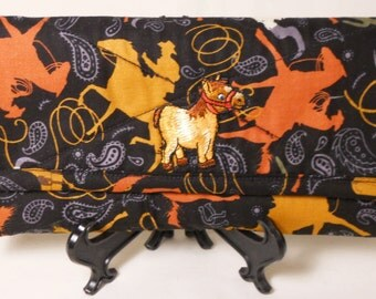 Horses Fabric Wallet / Cowboy Fabric Wallet / Quilted Wallet / Womens Wallet / Trifold Wallet