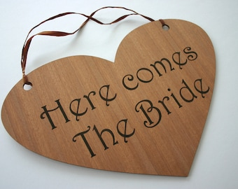 Here comes The Bride Etched Sign Engraved Wooden Heart Wedding Sign Wedding Sign Here comes the bride