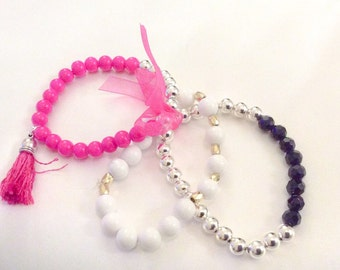 Hot Pink Black White Silver and Gold Stretchy 3 in One Bracelet Set SALE WAS 23.95 now 15.00