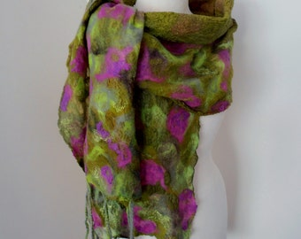 Nuno felted scarf Merino Silk scarf wrap by plumfish green olive pink