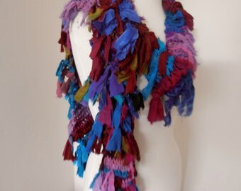 recycled silk  chiffon scarf multicolor boho chic little tattered scarf   handknitted by plumfish