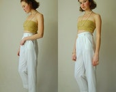 SALE SALE Tapered High Waist Pants Vintage Summer White High Waist Tapered Indie Boho Pants  (s)