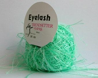 trendsetter eyelash yarn . mint . 73yds . creme de menthe green fluttery extra long eyelash fun fur novelty carry along yarn . new destash
