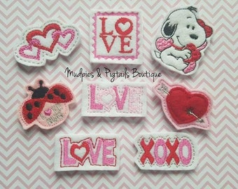 Valentine's Day Baby Hair Clippies or planner Paper Clips, Snoopy, XOXO, Heart, Ladybug Birthday party favors, Bow No Slip, happy planner