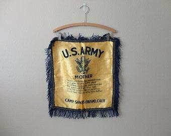 VINTAGE 1940s wwii era PILLOW COVER - u.s. army Camp San Luis Obispo, Calif.