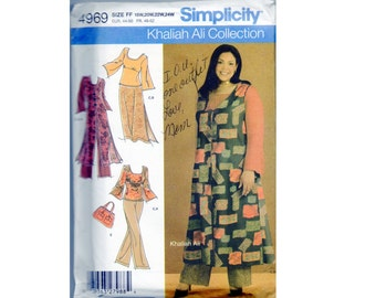Pattern Skirt, Top, Long Vest Duster, Pants, Purse Bag Simplicity 4969 Plus Size 18 20 22 24 Tapered Sleeves, Elastic Waist, Wide Leg