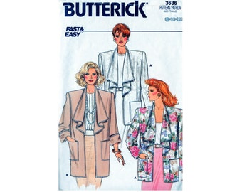 Vintage 1980s Jacket Sewing Pattern  Butterick 3636 Draped Collar Patch Pockets  Size 8 10 12