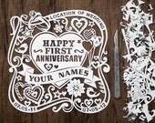 Handcut! Celebrating an Anniversary? Beautiful Personalised Papercut. Made to Order.
