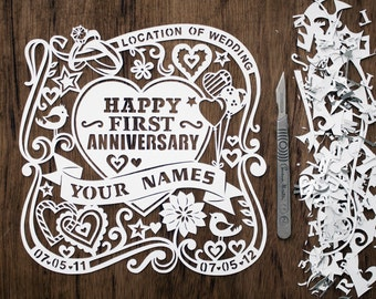 Handcut! Celebrating an Anniversary? Beautiful Personalised Papercut. Made to Order.