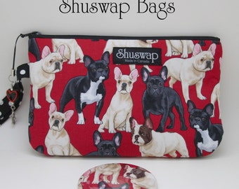 Red French Bulldog Wristlet and Mirror Set