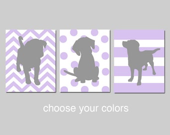 Lavender Purple Gray Puppy Dog Nursery Decor Baby Girl Nursery Art Trio - Set of 3 Prints - Chevron, Polka Dot, Stripes - CHOOSE YOUR COLORS