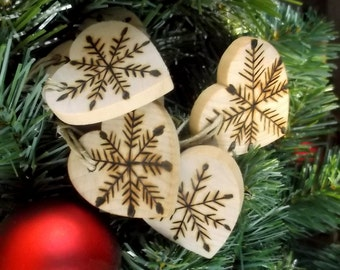 8 Heart Shaped Snowflake Wood burned Ornaments - Holiday Decor - 1 1/2 inch - Natural and Organic Decor Wine Charms