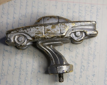 Automobile Trophy Top- METAL CAR- Distressed Patina- Screw Base- Gold Flecked Paint