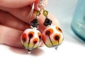 Poppy Earrings, Floral Earrings,Beadwork Earrings,  Beaded Earrings, Glass Earrings, Spring, Mother's Day, Poppy, Red