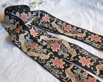 Art Deco ECRU PEACOCKS & PINK Flower Embroidered Trim on Black Crepe, Detailed Birds Dots Sari Clothing Camera Strap Hat, 1930s Boho Chic 38