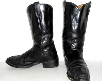 Mens 9 D Distressed Black Leather Acme Cowboy Biker Boots Motorcycle Womens Size 10.5
