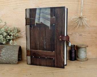 """Leather Journal, Blank Book, Hand tooled and painted decoration, """"Gate to the Spirit"""", One of a Kind (1/4)"""