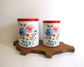 Vintage Colorware Canisters Tin Floral Red Lid 1950's Kitchen