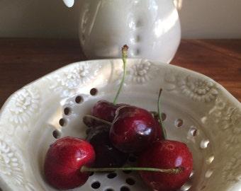Berry Bowl, Berry Colander, ceramic colander, pottery colander