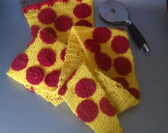 Pizza Scarf. Hand crocheted. Customizable and made to order!