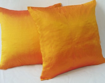 Orange Pillow, Solid Tangerine Pillow Cover, Silk Pillow, Dupioni Silk Pillow,  Decorative Pillow Accent Pillow