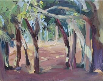 St. Helena Island -  low country -  South Carolina -  impressionistic - impressionism - primal - palm tree landscape - salt marsh - palms