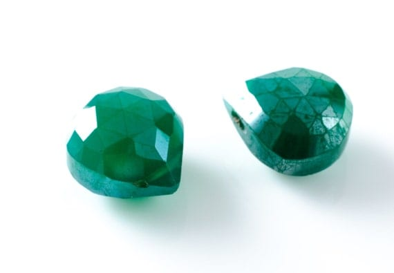 Faceted Green Chalcedony Aurora Borealis Teardrop Briolettes