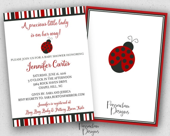 Ladybug Baby Shower Invitation | Lady Bug Baby Shower Invitation | Baby Girl Shower Invitation | Printable | BS44
