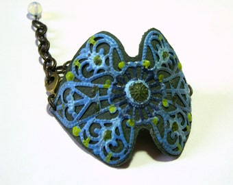 Hand Painted Blue Green Leather Filigree Vintage Cuff Top Selling Jewelry for Women Boho Chic Jewelry Cuff Gift Ideas